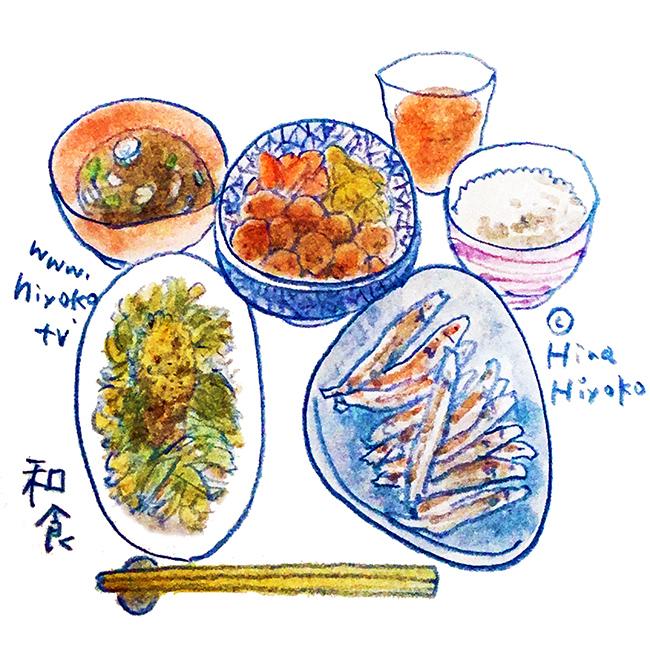 170728 和食 煮物 味噌汁 シシャモ