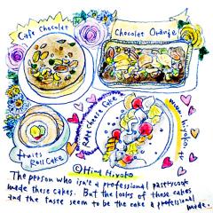 170724 ケーキ カフェショコラ ショコラオランジュ レアチーズケーキ フルーツロールケーキ